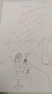 Lou Hagloch Sketch Of Feedback Target From 6/10/16 Show With Marty Rosenblatt