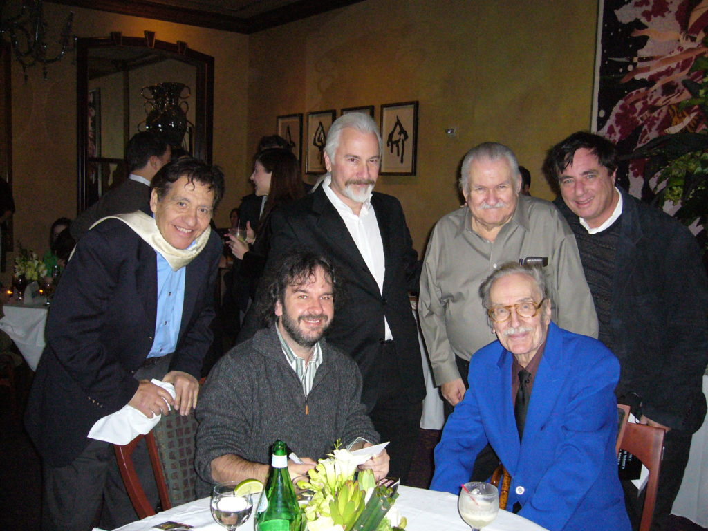 3 GREAT PHOTO - FRONT PETER JACKSON LEFT, FORREST J ACKERMAN RIGHT - BACK FROM LEFT, BASIL GOGOS, RICK BAKER, BOB BURNS, PAUL DAVIDS