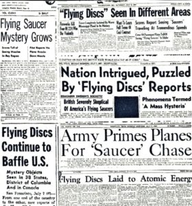 1. Collage of newspaper headlines from the summer of 1947 chronicling the arrival of flying saucers upon the post-war era