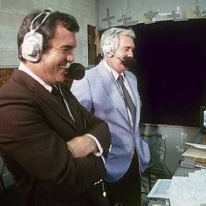 12. Brookshier (shown with Pat Summerall) became an outstanding broadcaster for NFL games in the 1970s
