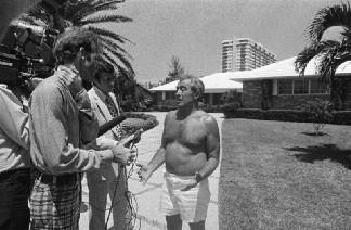 "15. Anthony ""Tony Pro"" Provenzano with news reporters on August 5, 1975, one day after the Vesuvio meeting."