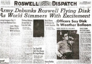 3. Newspaper headline that signaled the end of the Roswell case, that it was not a UFO but a weather balloon instead. It was a two-day story back in July of 1947