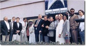 6. Gene Roddenberry and casts of the original and Next Gen, at the dedication of the Gene Roddenberry Building, 1991 -- shortly before his death.