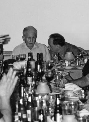 "21. This image of author Charles Brandt with Frank Sheeran at a celebratory dinner captures the very moment that Sheeran confessed to Brandt he had killed ""the fresh kid"" ""Crazy Joey"" Gallo."