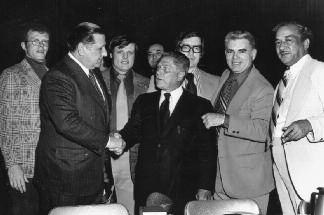 12. Frank Sheeran Appreciation Night 1974. Mayor Frank Rizzo (shaking Hoffa's hand), roofing union boss John McCullough (second from right), and civil rights leader Cecil B. Moore (far right) attending.