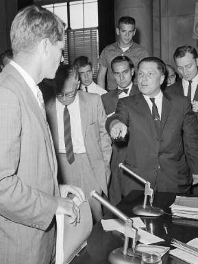 6. Jimmy Hoffa squaring off against archenemy Bobby Kennedy at a meeting of the Labor Racket Committee in 1958