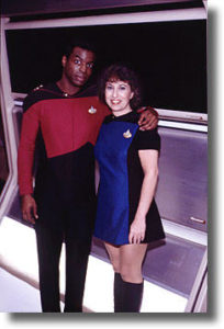 5. LeVar Burton and Susan Sackett, on the set of TNG, 1988