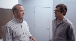 6. A still from Louis Theroux's upcoming movie with Louis and Marty Rathbun