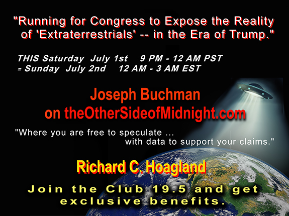 "2017/07/01 –  Joseph G. Buchman, PhD ""Running for Congress to Expose the Reality of 'Extraterrestrials' — in the Era of Trump."" / Georgia Lambert"