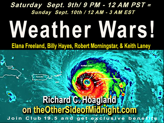2017/09/09 – Weather Wars – Elana Freeland, Billy Hayes, Robert Morningstar, Keith Laney, Kelly Em & Andrew Currie