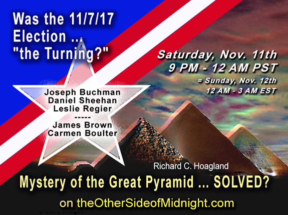 "2017/11/11 –  James Brown, Dr. Carmen Boulter  – Pyramid Mystery Solved? /  Daniel Sheehan, Leslie Regier – Was the 11/7/17 Election …""the Turning"""