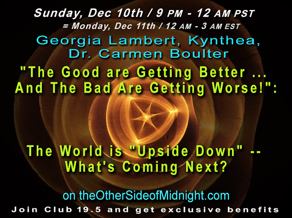 "2017/12/10 –  Georgia Lambert – Kynthea – Dr Carmen Boulter / ""The Good are Getting Better …  And The Bad Are Getting Worse!"": The World is ""Upside Down"" — What's Coming Next?"