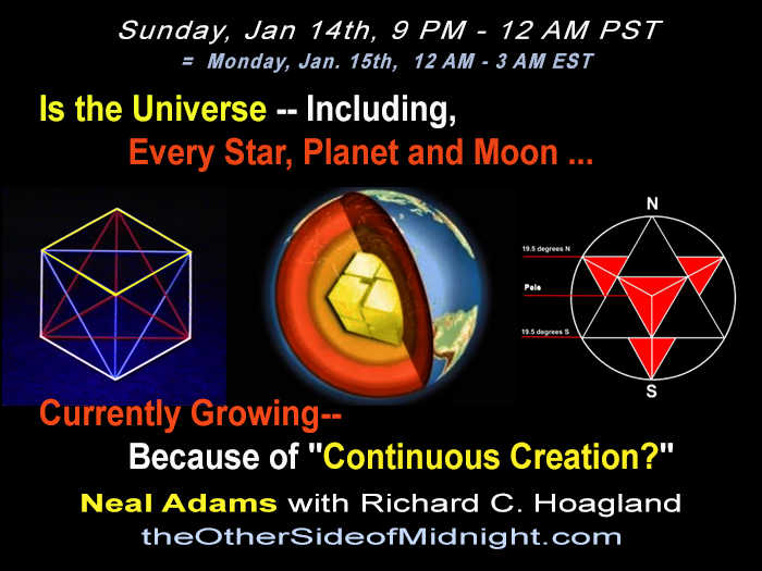 "2018/01/14 – Neal Adams – Is the Universe — Including, Every Star, Planet and Moon … Currently Growing– Because of ""Continuous Creation?"""