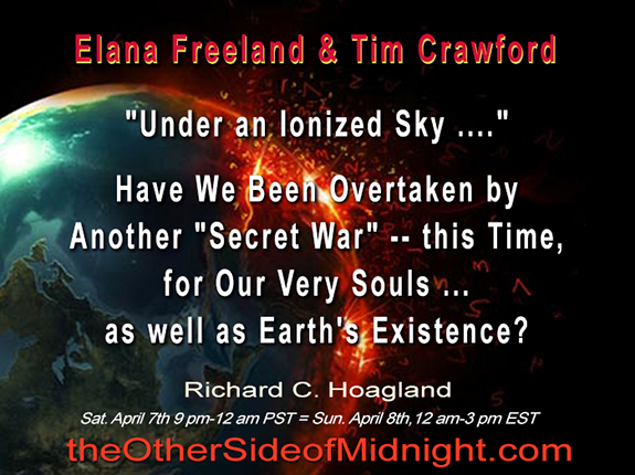 "2018/04/07 – Tim Crawford – Elana Freeland – ""Under an Ionized Sky ….""  Have We Been Overtaken by Another ""Secret War"" — this Time, for Our Very Souls … as well as Earth's Existence?"