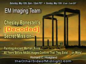 2018/05/12 – EM Imaging Team – Chesley Bonestell's [Decoded] Secret Mission–  Painting Ancient Martian Ruins … 60 Years Before NASA Images Confirm That They Exist … on Mars!