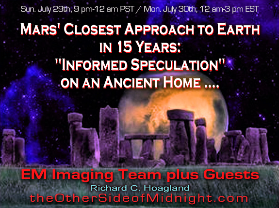"2018/07/29 – EM Imaging Team – Mars' Closest Approach to Earth in 15 Years: ""Informed Speculation"" on an Ancient Home …."