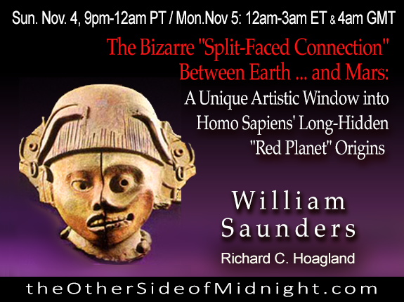 "2018/11/04 – William Saunders – The Bizarre ""Split-Faced Connection"" Between Earth … and Mars: A Unique Artistic Window into Homo Sapiens' Long-Hidden ""Red Planet"" Origins"