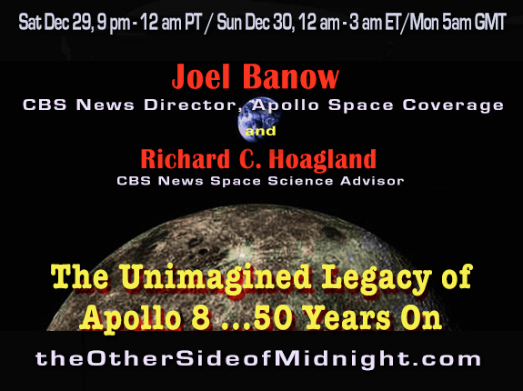 Postponed to Sun. Jan 6 – Joel Banow – The Unimagined Legacy of Apollo 8 … 50 Years On