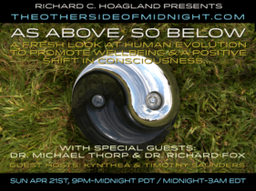 2019-04-21 – Dr. Michael Thorp & Dr. Richard Fox – Guest Hosts – Timothy Saunders & Kynthea – As Above, So Below:  A Fresh Look at Human Evolution to Promote Wellbeing & a Positive Shift in Consciousness…