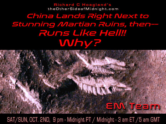 2021/10/02 – EM Imaging Team – China Lands Right Next to Stunning Martian Ruins, then–  Runs Like Hell!!  Why?